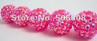 10, 12, 14, 16, 18MM Resin Crystal Bead Balls, Dark Pink AB Rhinestone Resin Beads Findings, Basketball Wives Beads