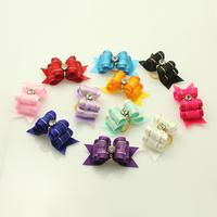 dreambows Handmade Accessories Ribbon Rhinestone Dog Bow Tie Pet First Flower Jewelry