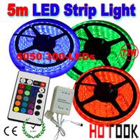 5m LED Strip Lighting flexible 12V RGB 5050 Light stripe Tiras LED dimmer IP65 Waterproof String 24keys Remote Control CE RoHS