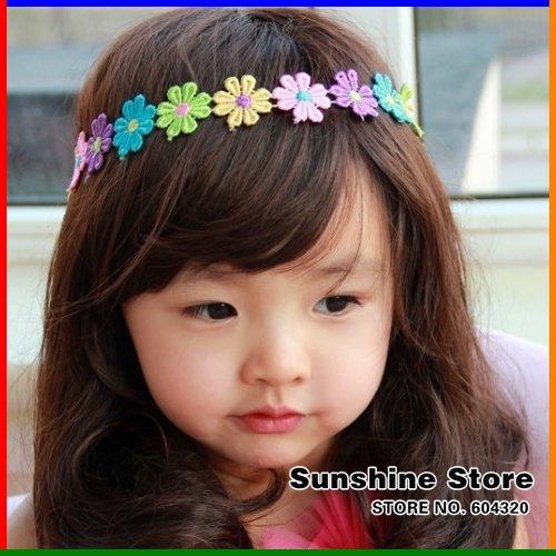 Sunshine store #2B2148 10pcs/lot baby Headband hairband head band a string of flowers colorful sunflower headband elastic CPAM(China (Mainland))
