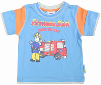 FREE SHIPPING C829# nova kids boy summer cotton fireman printed t shirt
