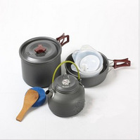 2013 Free Shipping Camping Pot Hiking Cookout Set Picnic Cookware Teapot Coffee Kettle Set All in One