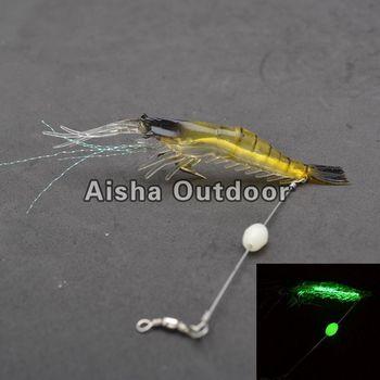 10Pcs/lot [10cm 6g] Luminous Shrimp Fishing Lures With Fishing Hooks Soft Bait Fishing Tackle
