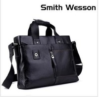 Free shipping ,  leather brifecase,100%Genuine leather shoulder bag/cowhide messenger bag/multi-funtion handbag coffee,