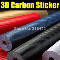 Black air free bubbles 1.52*30m/roll 3D Carbon Fiber Vinyl car stickers free shipping