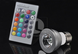 NEW! 16 Color RGB E27 3W 180LM LED Light Bulb Lamp AC 85~265V + Remote Control EL30 Wholesale!(China (Mainland))