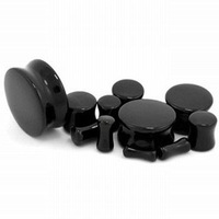 180 Pieces/LOT Assorted of 9 sizes Black Agate Double Flared Saddle Ear Plugs Stone Plugs Body Jewelry