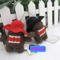 Free Shippin DOMO KUN 10/lot Mobile Phone Strap charm  Plush Toy  Red ,black hat  Wholesale