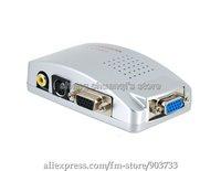 Universal PC VGA to TV AV RCA Signal Adapter Converter Video Switch Box Supports NTSC PAL system ,free shipping
