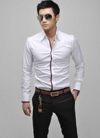2012 NWT Mens Casual Slim Fit Stylish Shirts Luxury Stylish Patched Dress Shirts 4 Colours 4 Size, ST1211