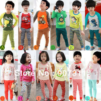 free shipping 6sets/lot 12designs kids' tshirt+pants=2pcs/set kids' clothing set children home wear spring Autumn suit