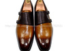Free shipping mackay handmade pure genuine calf leather men's monk straps color brown No.MS24