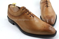 Free shipping custom handmade genuine calf leather men's oxford shoe color brown No.OX194 adhesive craft