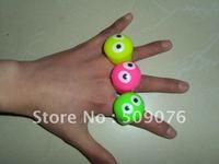 Free shipping 36pcs/lot  3*3*4cm TPR led flashing ring  led finger light with eye