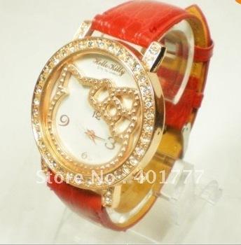 10pcs/box High Quality Hello kitty Fashion Cute Lovely Rose gold diamond Girl woman lady Wrist Watches Children  ver regarder