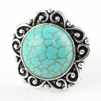 Personalized Blue Turquoise Crack  Flower Shaped Alloy Adjustable Rings,rn-519