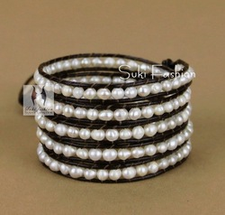 Free Shipping Hot Sale Fashion Wrap Bracelet, Irregular Freshwater Pearl Leather Wrap Bracelet(China (Mainland))