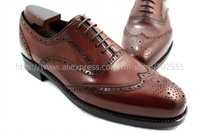 Free shipping custom handmade genuine calf leather men's oxford shoe color dark brown No.OX226
