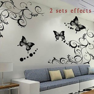 wall sticker Wall paster/room sticker/house decorative poster 1 set=1 vine+3butterfly Free Shipping ZQT007