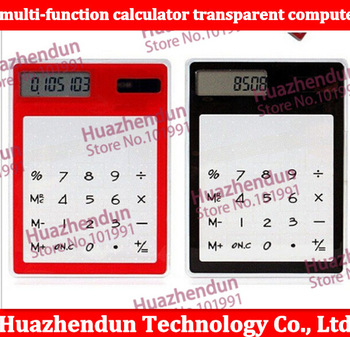 Ultra-thin multi-function calculator transparent computer / solar touch screen / transparent calculator simple fashion