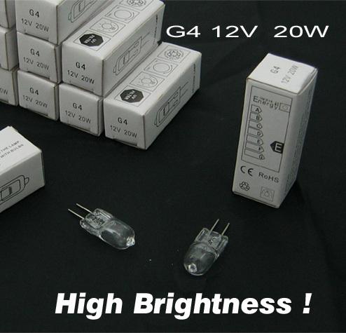 Halogen Bulb G4 12V 20W, High brightness version. JC halogen light bulb(China (Mainland))