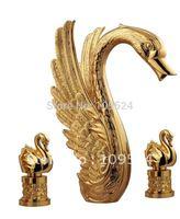 Free shipping PVD GOLD  finish 3 Pcs  ROMAN swan tub faucet   swan mixer tap little swan handles faucet