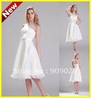 2012 White A-line Scoop Spaghetti Ruffles Chiffon Flower Knee Length Designer Short Wedding Dresses 01-140