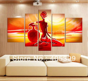 Free Shipping !!!  Huge Nude Girl 5pcs Handmade Abstract Oil Painting On Canvas Wall Art  ,House Decoration Art JYJLV049