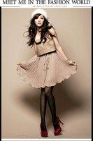 Hot Womens Fashion Montage PU Leather Vest Drape Chiffon Dress Apricot/Black E118231