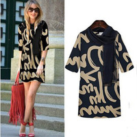 2014 New Excellent Quality, European Style Elegant Fashion Half Sleeve Plus Size Printed Dress
