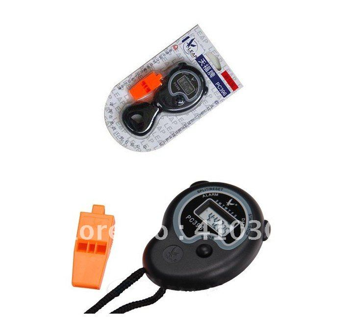 Digital Stopwatch Handheld Sport Stop Watch Time Alarm Clock Come With Whistle New Arrival Freeshipping 200 pcs(China (Mainland))