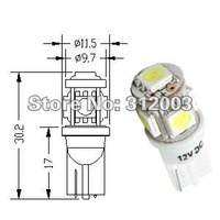 Free shipping 50 pcs/pack Car clearance light, T10 SMD bulb, 5 pcs 5050 SMD light, White, Blue, Red