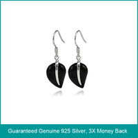 Jewelry heart agate silver earrings,black agate silver 925 earrings,silver earrings with agate,silver jewelry with agate (O0071)