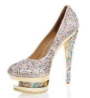 High heels shoes shoes luxury wedding bride Crystal Satin platform high heels