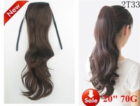 """22"""" 70g Silky Wave Synthetic Hair Ponytail loose curls Hair Extension color #2t33 Dark brown,free shipping"""