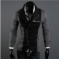 Wholesale -  Fashion Slim Men's Jacket Lapel With Irregular Zipper Dark Grey+Black Jackets For Men jacket coat
