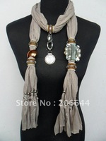 New sellers scarves animal + crystal pendant scarf pure color polyester women's scarf SS356