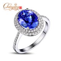 2.35ct Natural AAA Tanzanite Oval Shape Engagement Pave Set Diamond Ring #6.5