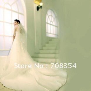 New Arrival Women's Elegant Tieback  Luxury Trailing Satin + Organza Bride Wedding Dress