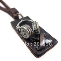 Mens Unisex charm fashion Headset Leather Cards pendant Genuine leather necklace PL0234/ Best Gift / Free shipping / Wholesale