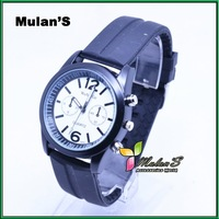 Mulan'S 35pcs/lot Best Selling 9 colors Black belt colorful dial WOMAGE Watches Rubber Wristwatch  ,FREE SHIPPING