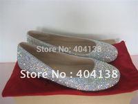 Drop shipping Brand women Round Toe Flats red bottom rhinestone crystal wedding diamond Pink Black Silver shoes size 34-42