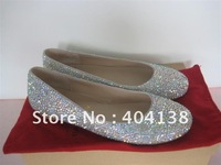Drop shipping Brand ladies Round Toe Flats red bottom rhinestone crystal wedding diamond Pink Black Silver shoes size 34-42