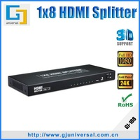 Free Shipping 8 Way HDMI Splitter 1.8 HDMI 1*8 Splitter,Support 3D 1080P with CE FCC
