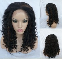 Heat Safe LACE FRONT WIG Long curl 18inch #1B-30  Black with Auburn Highlights Free Shipping