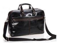 """FREE SHIPPING High-Class Men's Black Genuine Leather Briefcase Men Shoulder Bag Leather Messenger Bag 15""""Laptop Bag Travel Bag"""