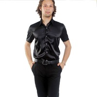 Free Shipping,2012 Newest Hot,Wholesale Shiny Silk Satin Short-sleeve,(Size:S.M.L.XL.XXL.XXXL)Men's Leisure Black Shirts SA022