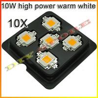 wholesale 10pcs/lot 10W high power warm white LED lamp,550LM,3000-3400K+free shipping-10000056