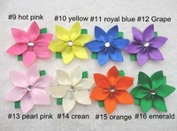Free shipping 50pcs/lots 2.8&amp;quot; Petal Flower Hair clip with Crystal Gem alligator clipkid&amp;#39;s flower hair Bo @WE@#8