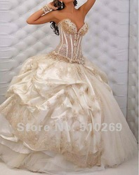 Free Shipping New Arrival Real Made New Design A-line Lace Beaded Organza Wedding Dress(China (Mainland))